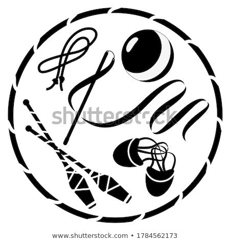 Rytmiczny gimnastyka czarny sylwetka biały Zdjęcia stock © mayboro