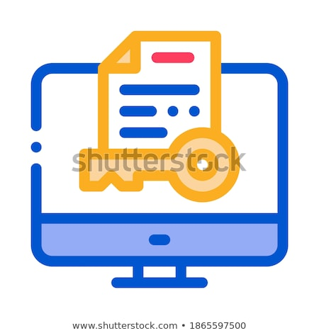 Secret Documents in Computer Icon Vector Outline Illustration Stock photo © pikepicture