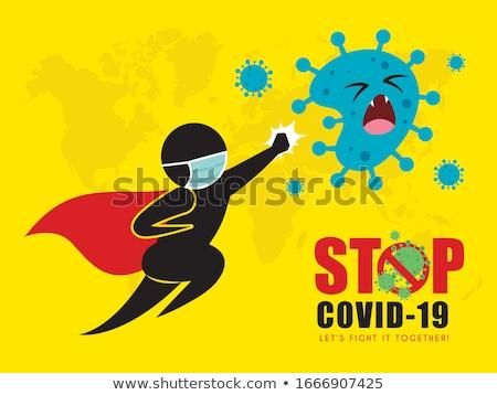 Vencer coronavirus parada dibujado a mano cute virus Foto stock © Zsuskaa