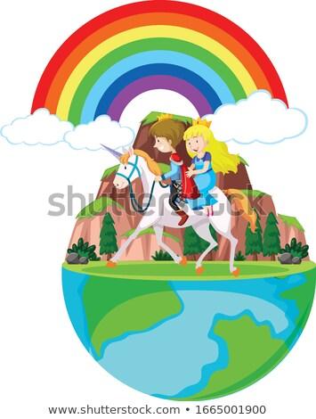 Książę princess jazda konna konia około górskich Zdjęcia stock © bluering