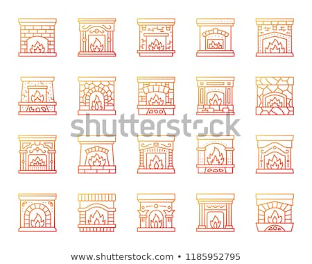 open fire in stove icon vector outline illustration Stock photo © pikepicture