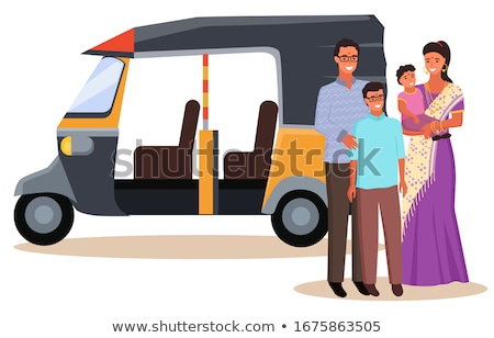 Indian Family in Traditional Clothes and Rickshaw Stock photo © robuart