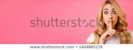 Obraz dziewczyna palec usta Zdjęcia stock © deandrobot