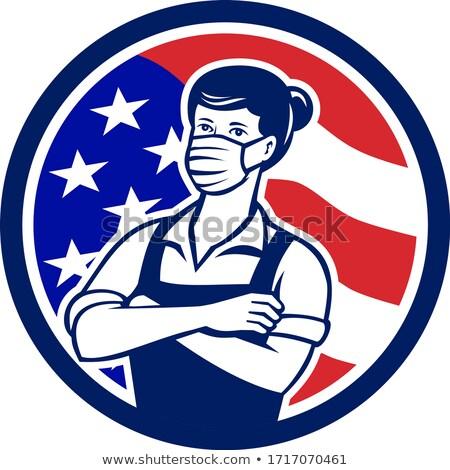 Kadın süpermarket işçi ABD bayrak daire Stok fotoğraf © patrimonio