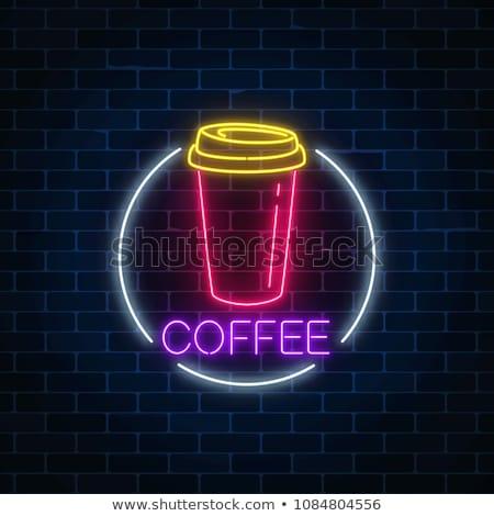 Filiżankę kawy neon pić promocji świetle ulicy Zdjęcia stock © Anna_leni