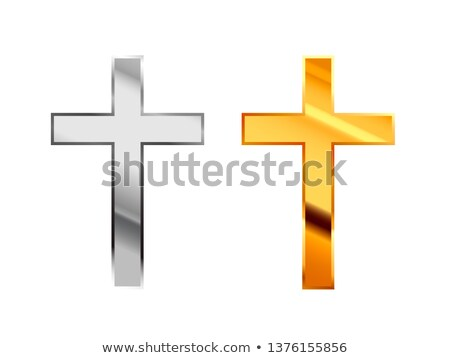 Catholicism religious signs made from glossy silver and gold metall on white Stock photo © evgeny89