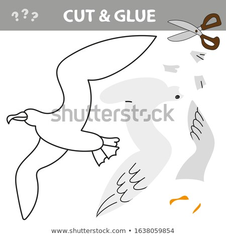 Use scissors and glue and restore the picture inside the contour with Seagull Stock photo © natali_brill