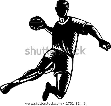 European Handball Player Jumping Scoring Woodcut Black and White Stock photo © patrimonio
