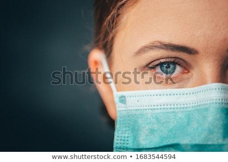 看護 着用 外科手術用マスク 黒白 バスト 医療 ストックフォト © patrimonio
