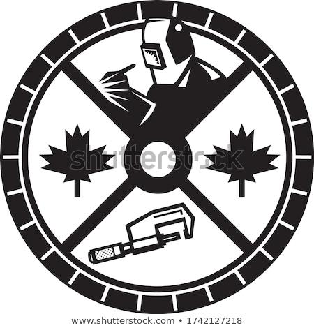 Canadian Welder Caliper Maple Leaf Circle Retro Black and White Stock photo © patrimonio
