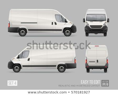 Realistic van vector template. Vehicle mockup side, front, back, Stock photo © YuriSchmidt