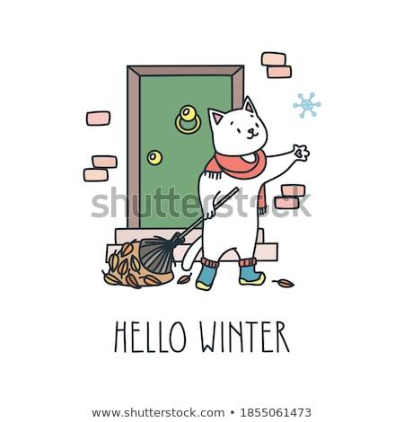 かわいい · レトロな · 雪 · eps · ベクトル · ファイル - ストックフォト © beholdereye