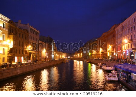 Kanaal schemering water gebouw landschap licht Stockfoto © Paha_L