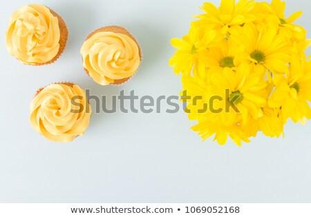 Citromsárga minitorta cukrászda díszített kicsi színes Stock fotó © aladin66
