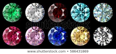 top view of round diamond with green sparkles stock photo © arsgera