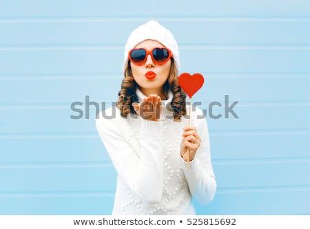 bela · mulher · batom · vermelho · vermelho · coração · branco - foto stock © Rob_Stark