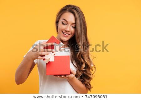 Stock fotó: Boldog · fiatal · lány · nyitás · ajándék · doboz · szülők · nappali