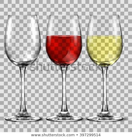 uno · vidrio · vino · blanco · vino · tinto · uvas · hojas · verdes - foto stock © artjazz