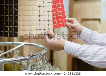 Man holding bathroom tiles Stock photo © photography33