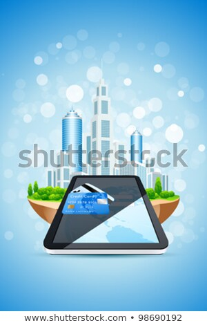 Blue Background with City Island Credit Card and Tablet PC stock photo © WaD