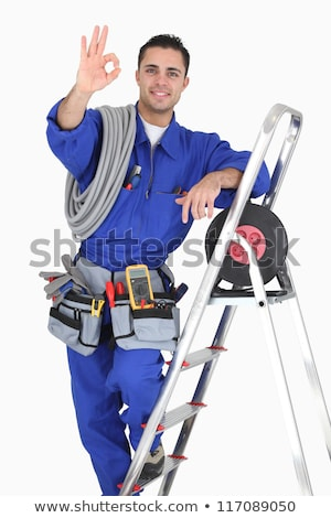Man with a toolbox and stepladder Stock photo © photography33