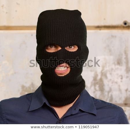 Terrorista portré hátulnézet férfi fegyver fekete Stock fotó © tiero