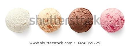 Chocolate helado cubierto jarabe cereza cuchara Foto stock © stevemc