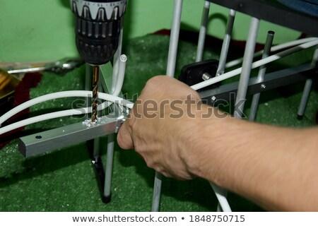 Férfi villanyszerelő felszerlés kék szerszámok munkás Stock fotó © photography33