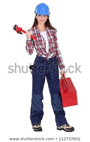 Stock fotó: Buzgó · fiatal · női · vízvezetékszerelő · iroda · munka