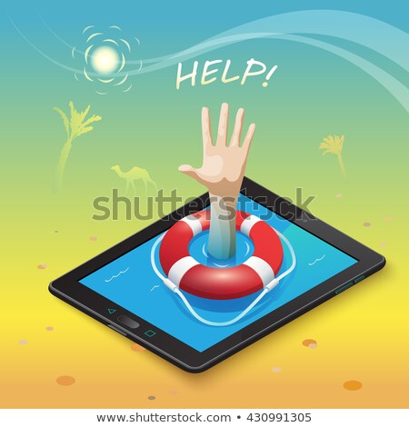 Tablet Computer With Life Buoy Stock photo © adamson