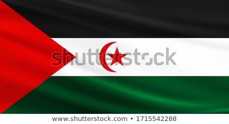 zászló · western · Szahara · térkép · csillag · piros - stock fotó © perysty