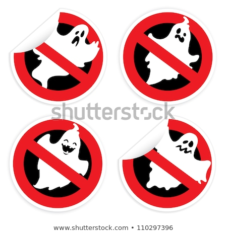 Sticker prohibition sign with ghost for Halloween Stock photo © AnnaVolkova