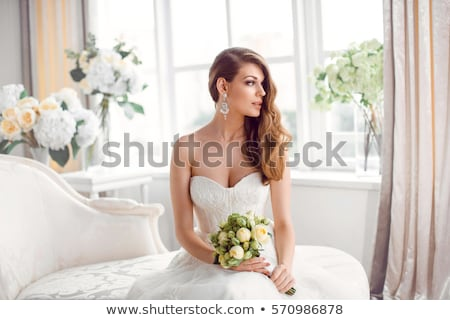 beautiful bride brunette fashion model in white bridal dress stock photo © gromovataya
