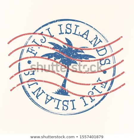 Mail Fiji immagine timbro mappa bandiera Foto d'archivio © perysty