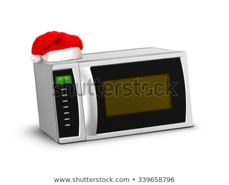 Christmas magnetronoven witte textuur technologie keuken Stockfoto © shutswis