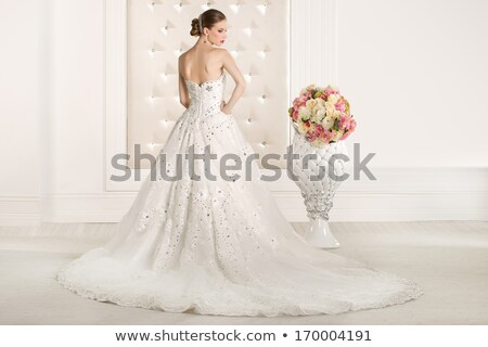 Beautiful woman in wedding dress. Gorgeous bride portrait stock fotó © gromovataya