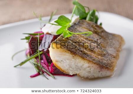 Balık gıda plaka patates salata Stok fotoğraf © samsem