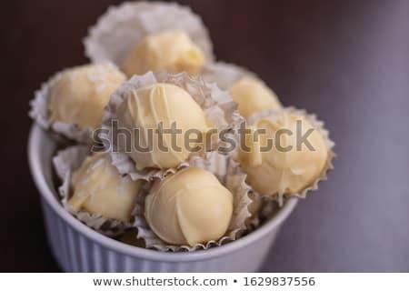 chocolate truffle on white Stock photo © ozaiachin