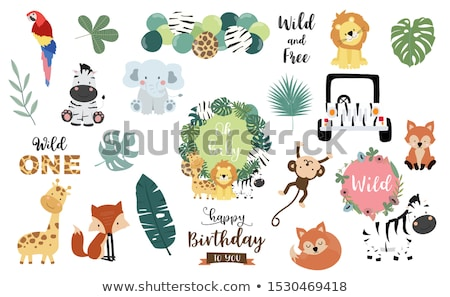 Stock photo: childish baby shower card with cartoon lion