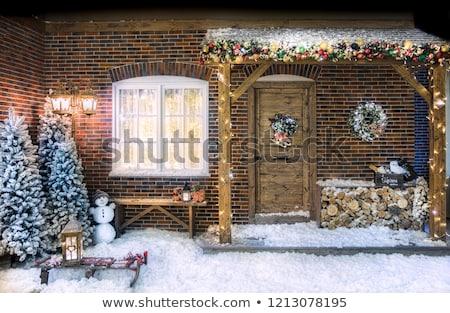 natal · boneco · de · neve · decoração · varanda · cidade - foto stock © oliverjw