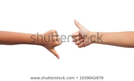 Hand Daumen up Positivität Zeichen isoliert Stock foto © Len44ik