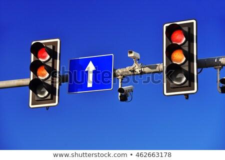 Trafik ışıkları mavi gökyüzü gökyüzü araba şehir ışık Stok fotoğraf © monticelllo