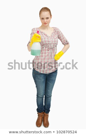女性 立って スプレー ボトル 白 ストックフォト © wavebreak_media