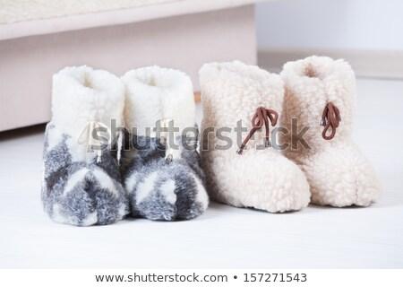 paar · bruin · huis · slippers · witte · home - stockfoto © amaviael