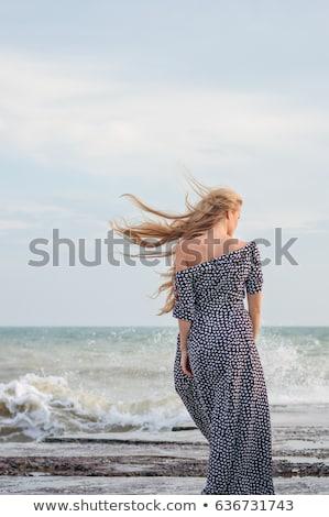 Beautiful model woman portrait with back light Stock photo © lunamarina