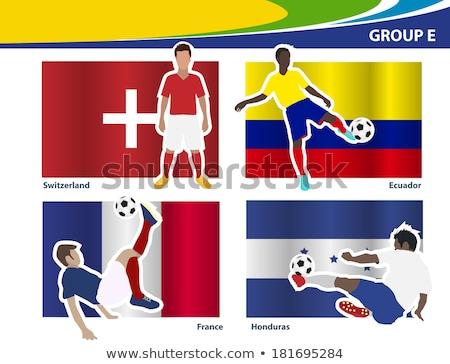 Brazilia · minge · de · fotbal · lume · echipe · steaguri · 3D - imagine de stoc © stevanovicigor
