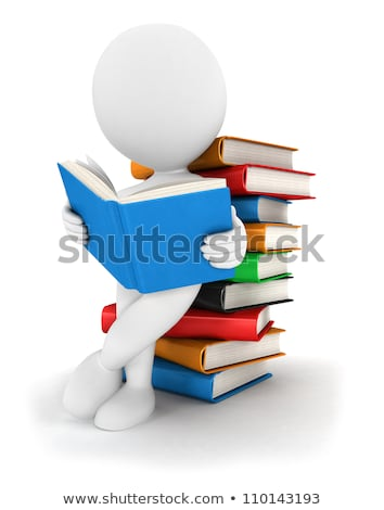 3d person reads a book leaning back against a pile of books stock photo © designers