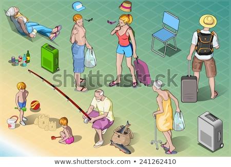 familie · strand · vissen · reis · vrouw · kinderen - stockfoto © monkey_business