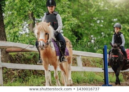 Pequeño nino casco equitación poni sonrisa Foto stock © Nejron