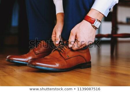 Marrom sapatos isolado branco par masculino Foto stock © EwaStudio